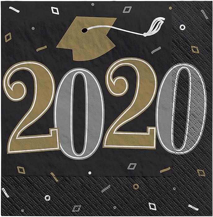Amscan 2020 Grad Paper Beverage Paper Napkins, Black, Silver and Gold, 36 pc
