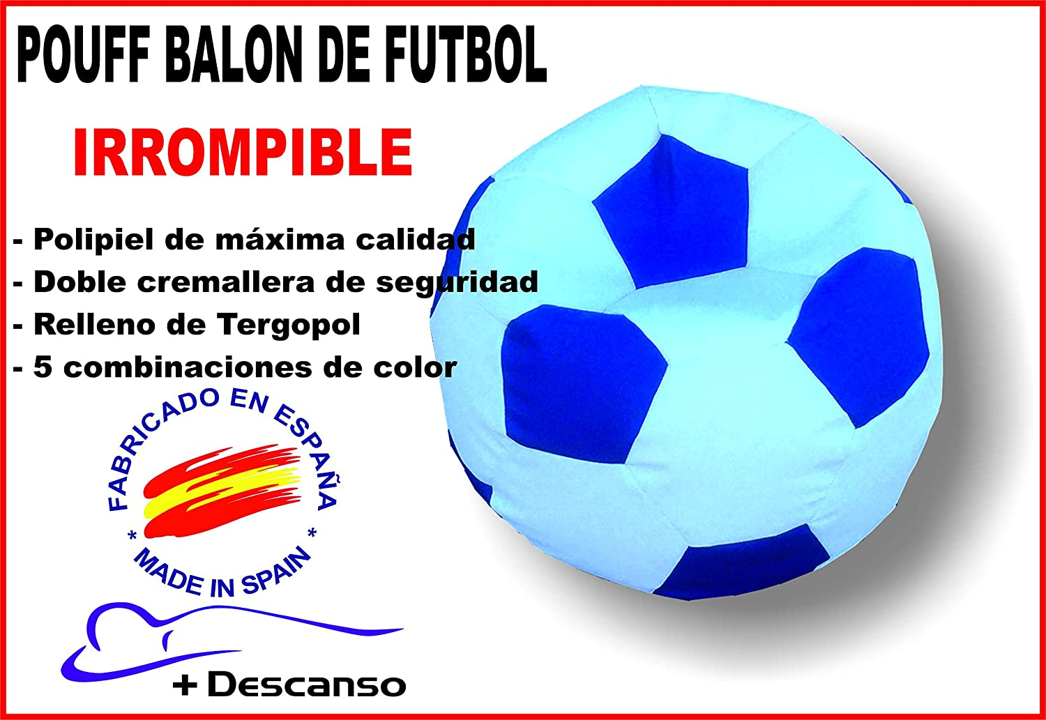 Pouff balon de futbol IRROMPIBLE de +descanso: Amazon.es: Hogar