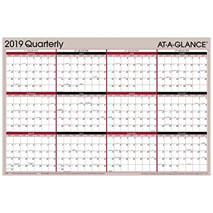2019 Quarter Calendar Amazon.: AT A GLANCE 2019 Quarterly Wall Calendar, 36