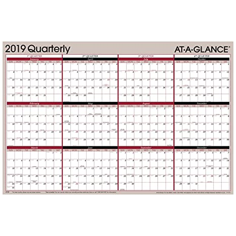 2019 Quarterly Calendar Amazon.: AT A GLANCE 2019 Quarterly Wall Calendar, 36
