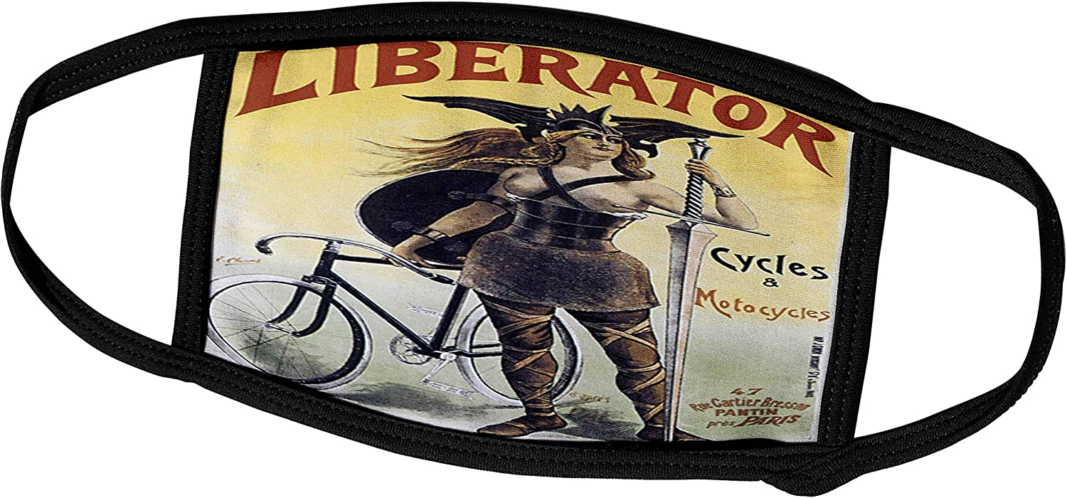 3dRose BLV Vintage Bicycle Advertising Posters - Vintage Liberator Cycles and Motorcycles Paris France Advertising Poster - Face Masks (fm_129976_1)