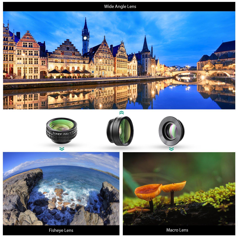 Amazon.com: AUKEY Optic iPhone Camera Lens, 180° Fisheye Lens + 110 ...