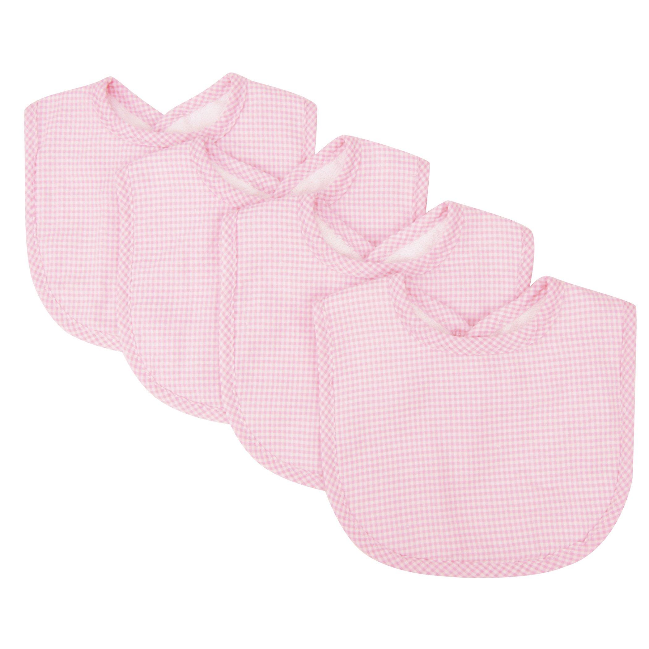 Trend Lab Trend Lab Pink Gingham Seersucker Bib Set, Pink, 4 Count by Trend Lab