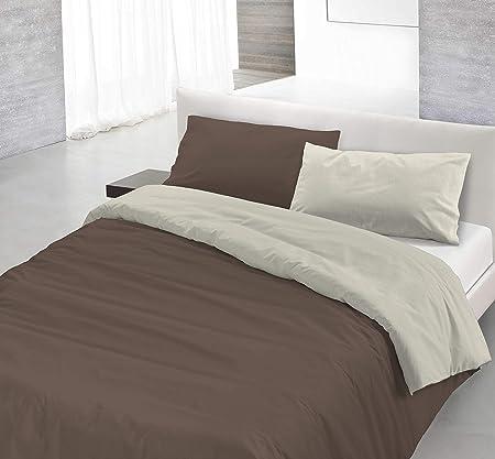 Copripiumino Marrone.Italian Bed Linen Natural Color Parure Copripiumino Con Sacco E