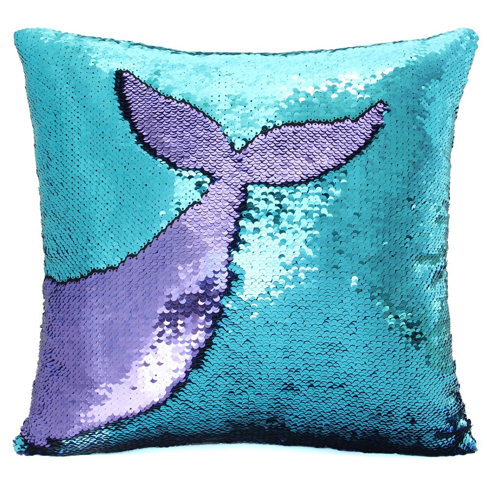 Basumee Mermaid Sequin Pillow with Insert, 16''x16'' Magic Reversible Sequins Cushion for Home Décor (Aqua/Light Purple)