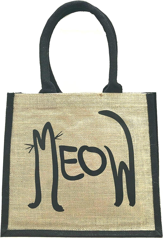 Bolsa de la compra de yute con asas negras y bordes impresos, bolsa de regalo de arpillera con impresión de gato