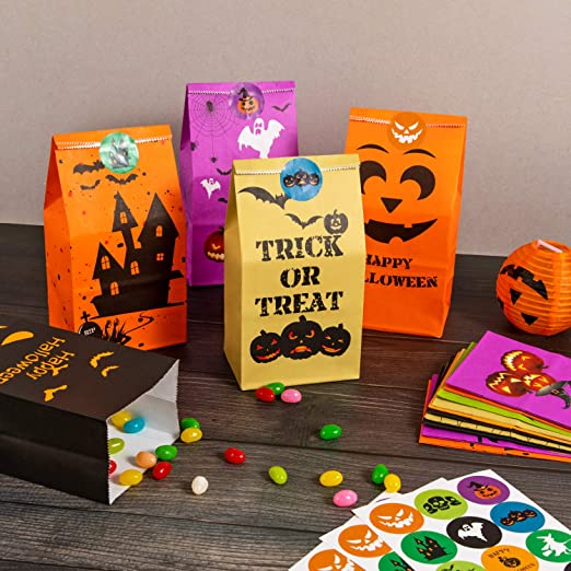 4 kind Halloween 160pcs Treat Bags Biscuit Candy Cookies Packing Bag Snack Pouch Wrappers Kids Party Supplies