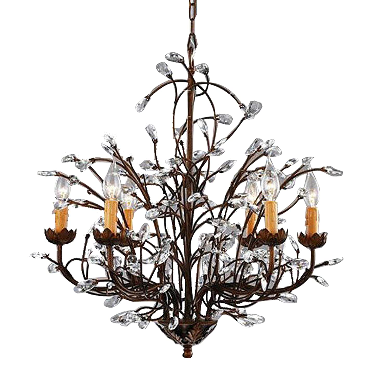- Antique Bronze 6-light Crystal And Iron Chandelier