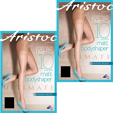 be825658bfddc Aristoc 10 Denier Ladder Resist Matt Body Shaper Tights (2 Pair Pack) (X