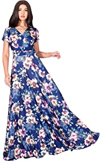 46788c1eb2e3 KOH KOH Womens Long Cap Sleeves Floral Print V-Neck Summer Sundress Maxi  Dress