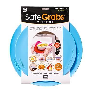 Safe Grabs Seen on Shark Tank: Multi-Purpose Silicone Microwave Mat, BPA Free Kitchen Tool, Set of 2, Ocean Blue