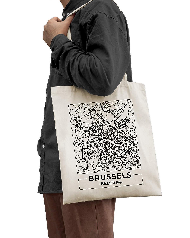 Bruxelles Belgique Carte de la ville Sac Cabas en Coton