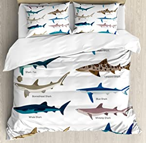 Ambesonne Shark Duvet Cover Set Queen Size, Types of Sharks Bronze Whaler Piked Dogfish Whlae Shark Maritime Design Nautical, Decorative 3 Piece Bedding Set with 2 Pillow Shams, Multicolor