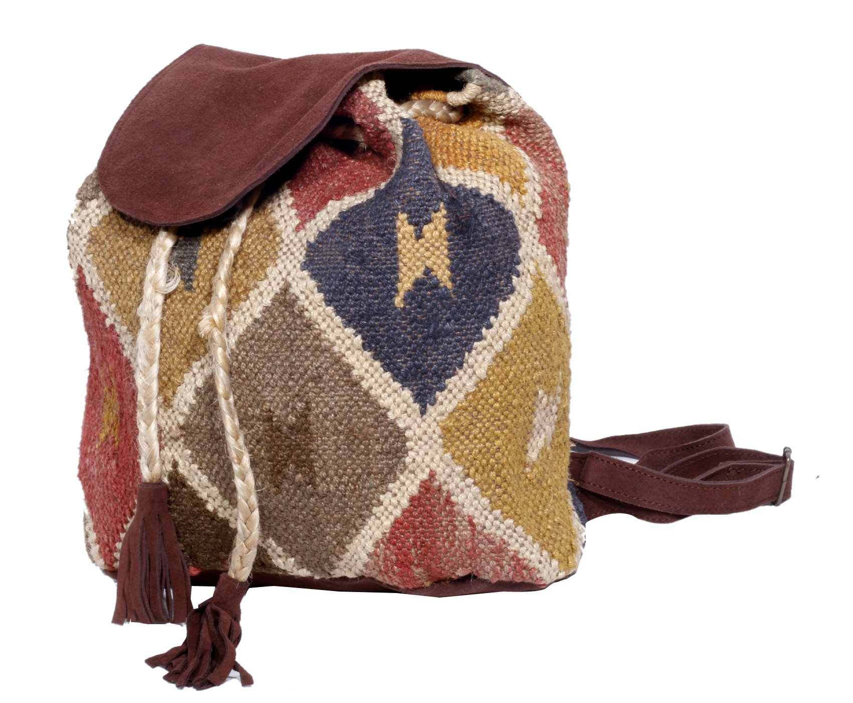 Indistar Women's Vintage Handmade Ethnic Kilim and Leather Back Pack Bag by Indistar (Image #4)