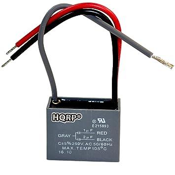HQRP Deckenventilator Kondensator CBB61 Größen von 1uF + 2uF 3-Draht ...