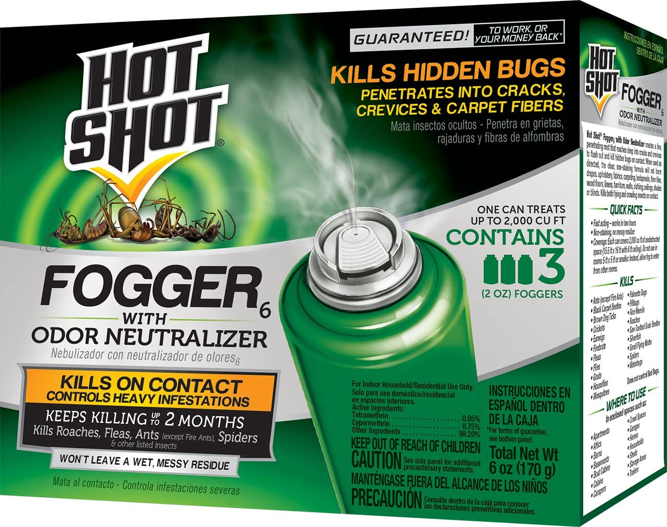 Hot Shot Indoor Fogger With Odor Neutralizer, 3/2-Ounce, 6-Pack