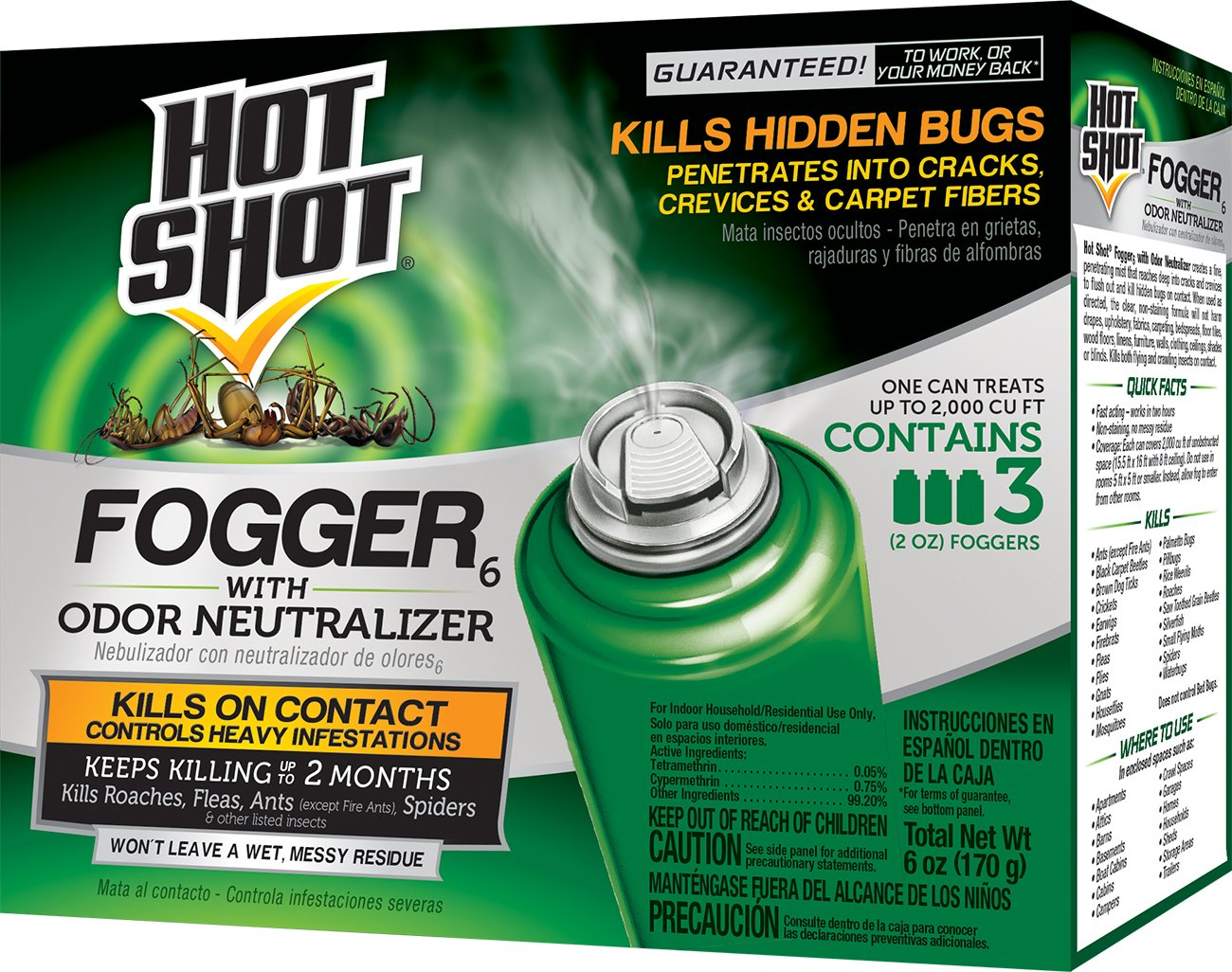 Hot Shot HG-96180 Fogger With Odor Neutralizer, Aerosol, 3/2-Ounce, Pack of 12 by Hot Shot