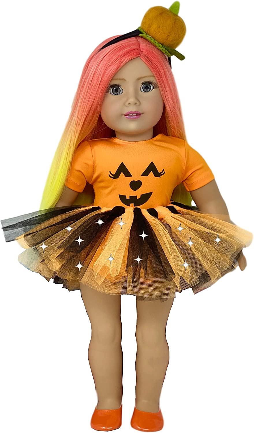 MY GENIUS DOLLS Doll Clothes. Halloween Outfit-Fits 18 inch Dolls Like Our Generation, My Life, American Girl Doll. Accessories:Headband, Shoes and Tutu with Lights | Doll Not Included