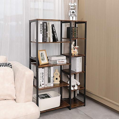 Mu 5-Tier Industrial Bookshelf Freestanding Wood Bookcase - a good cheap modern bookcase