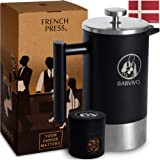 BARVIVO French Press Coffee Maker - Best for Brewing Your Favorite Cup of Coffee or Tea - Comes with a Small Portable Travel Jar - The Black Double Insulated Stainless Steel Body Holds 34oz
