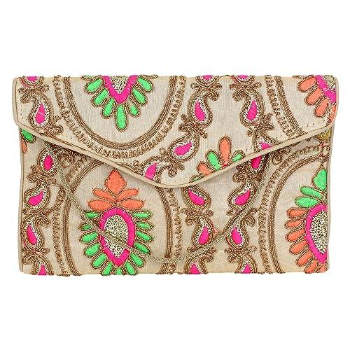 3743ee5d7c Brazeal Studio Women's Embroidered Fabric Ethnic Clutch Beige ...