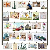 Love-KANKEI Wood Picture Photo Frame for Wall Decor 26×29 inch with 30 Clips and Adjustable Twines Collage Artworks Prints Mu