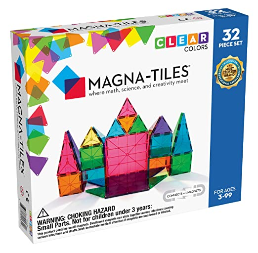 Magna-Tiles 32-Piece Clear Colors Set, The Original Magnetic Building Tiles For Creative Open-Ended Play, Educational Toys For Children Ages 3 Years + | Amazon