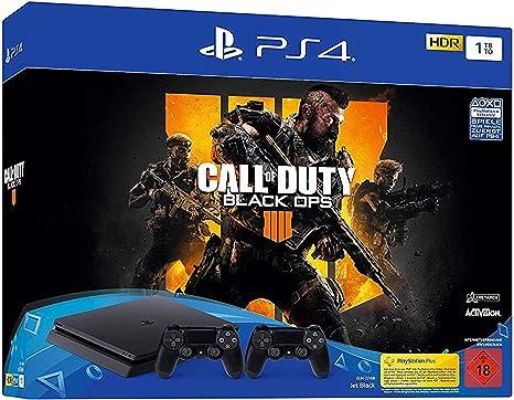 PlayStation 4 - Konsole (1TB, schwarz, slim) inkl. Call of Duty: Black Ops 4 + 2 DualShock Controller [Importación alemana]: Amazon.es: Videojuegos