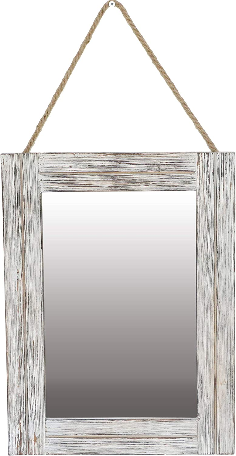 EMAISON 16 X 12 Inch Rustic Wood Framed Wall Mirror with Hanging Rope for Farmhouse Décor, for Entryway, Bedroom, Bathroom, Dresser, Wash White