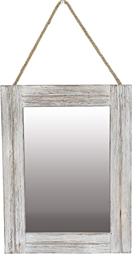 EMAISON 16 X 12 Inch Rustic Wood Framed Wall Mirror with Hanging Rope for Farmhouse D cor, for Entryway, Bedroom, Bathroom, Dresser, Wash White