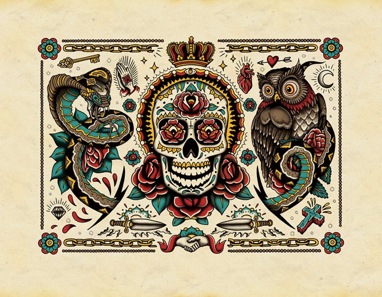 The Tattoo Colouring Book: Amazon.co.uk: Megamunden: 9781780670126 ...