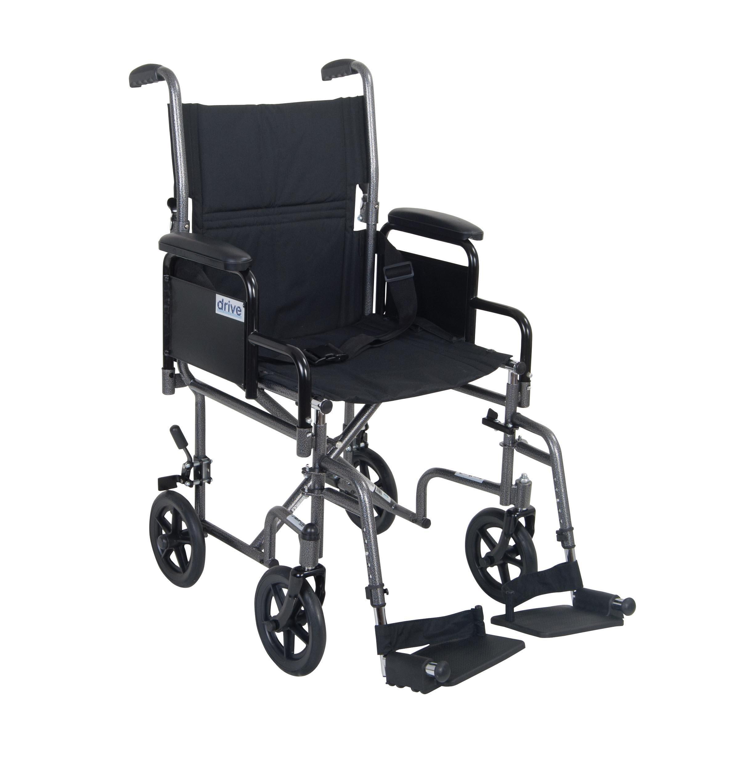 Drive Medical Lightweight Steel Transport Wheelchair, Detachable Desk Arms, 19'' Seat