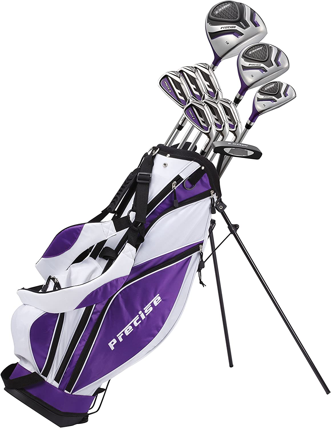 Precise Premium Ladies Womens Complete Golf Clubs Set Includes Driver, Fairway, Hybrid, S.S. 5-PW Irons, Putter, Stand Bag, 3 H/C's