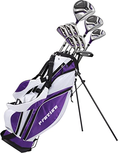 Precise Premium Ladies Womens Complete Golf Clubs Set Includes Driver, Fairway, Hybrid, S.S. 5-PW Irons, Putter, Stand Bag, 3 H C s