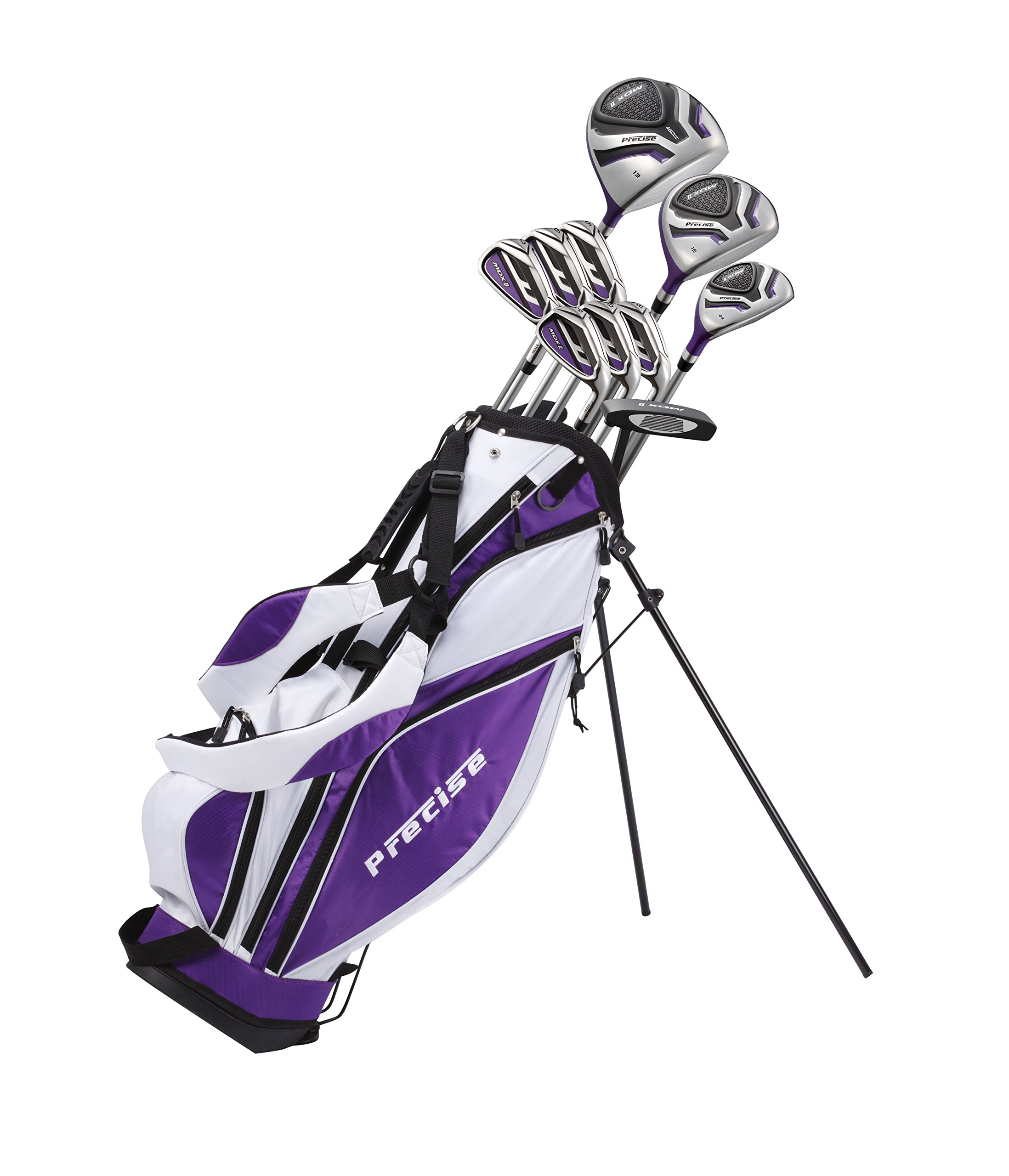 Precise Premium Ladies Womens Complete Golf Clubs Set Includes Driver, Fairway, Hybrid, S.S. 5-PW Irons, Putter, Stand Bag, 3 H/C's (Purple, Right Hand Petite Size -1'')
