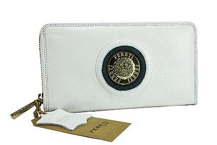 FERETI cartera blanco con azul de cuero Monedero billetera ...