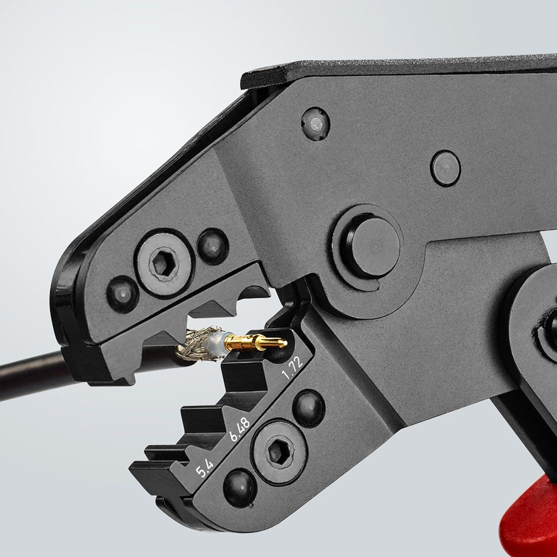 KNIPEX 97 52 20 Crimpzange kurze Bauform br/üniert mit Mehrkomponenten-H/üllen 195 mm