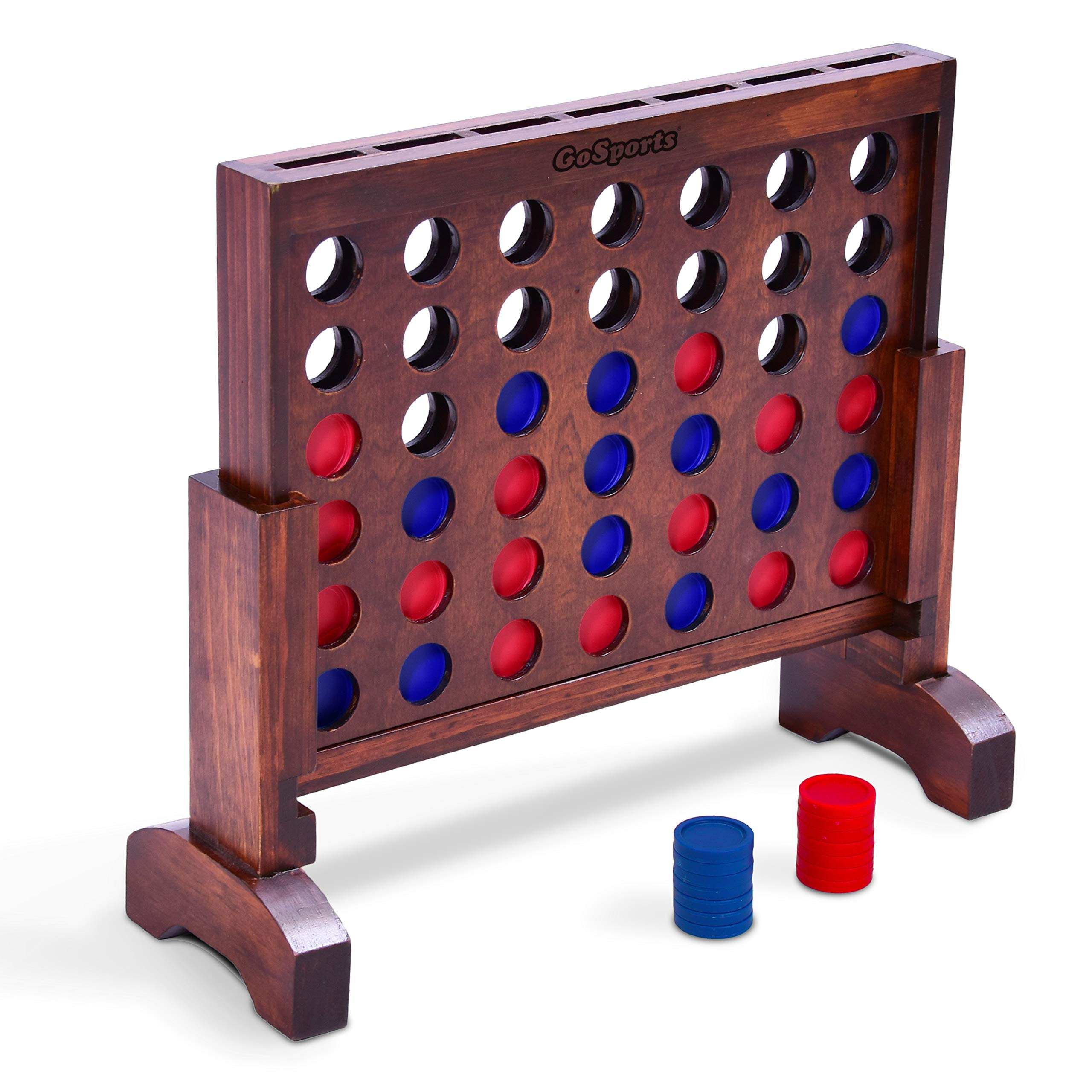GoSports Premium 4 in a Row Game Dark Wood Stain – 1 Foot Width – with Connect Coins, Portable Case and Rules
