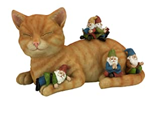 """GlitZGlam Cody The Miniature Cat and Gnomes - """"A Relaxing Day"""" - A Fairy Garden Gnome Miniature"""