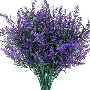 CEWOR 10 Bundles Artificial Lavender Flowers UV Resistant Fake Bouquets Plastic Plants for Outdoor Indoor Home Garden Wedding Party Decor