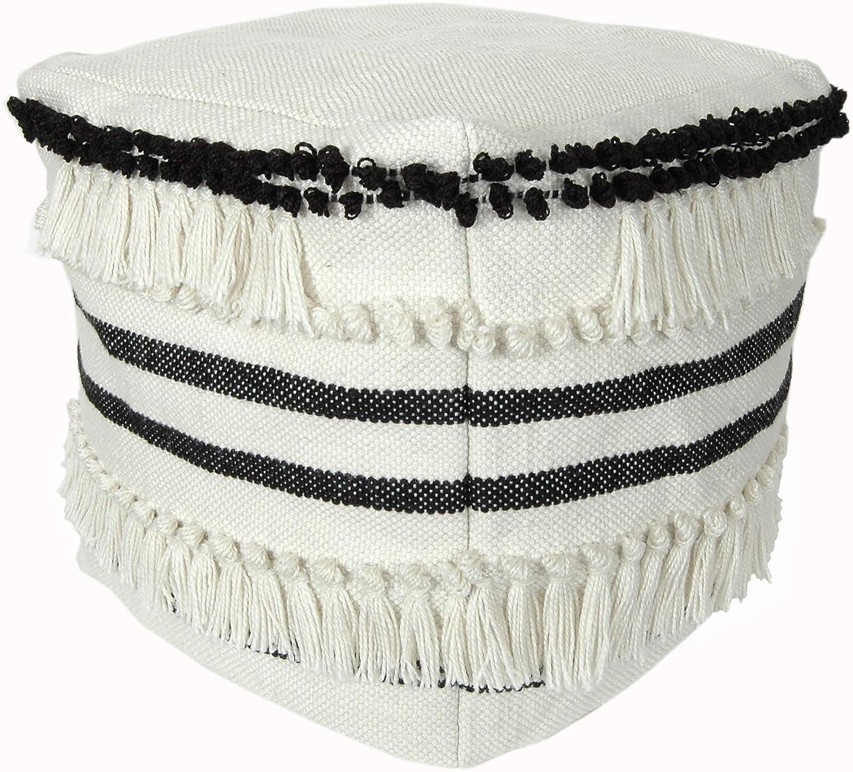 RULU 02279 Ottoman Outdoor/Indoor Pouf 18 inch x 18 inch x 18 inch Fringe, Black/White