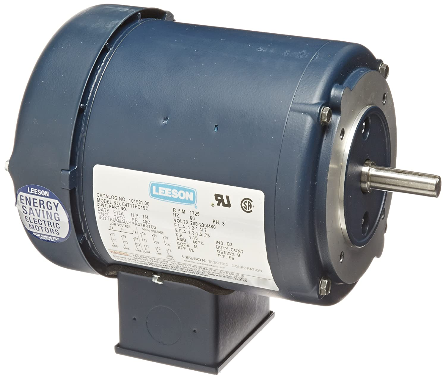 3 Phase 1//4HP 208-230//460V Voltage 1800 RPM 60Hz Fequency C4T17FC19C Rigid Mounting Leeson 101981.00 General Purpose C Face Motor 48C Frame