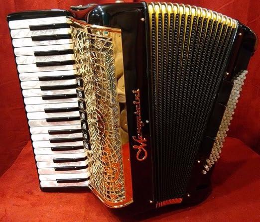 Nueva mengascini Piano acordeón negro y oro preferita 374 ...