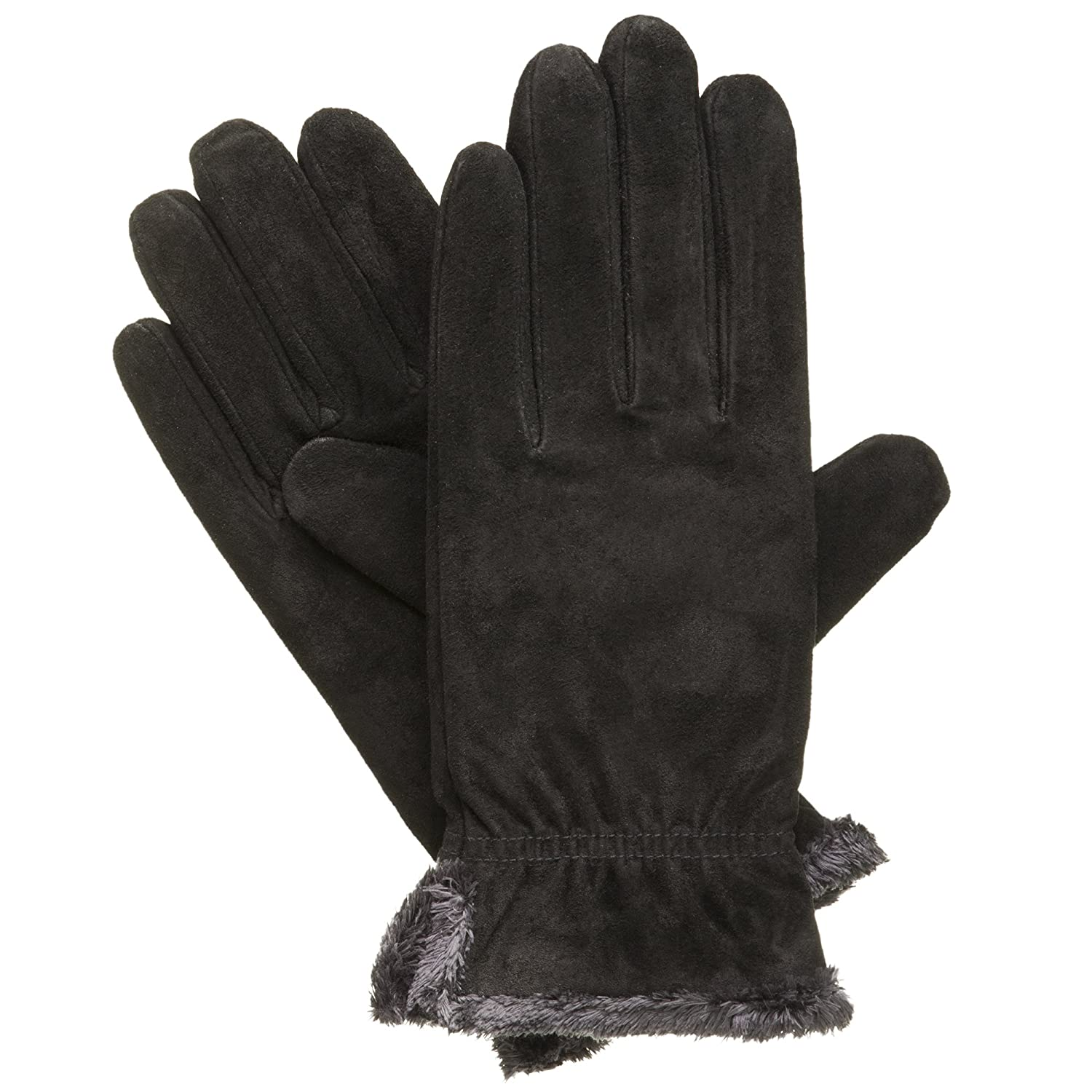 Black leather cut off gloves - Amazon Com Isotoner Women S Suede Gloves With Gathered Wrist Black Medium Clothing