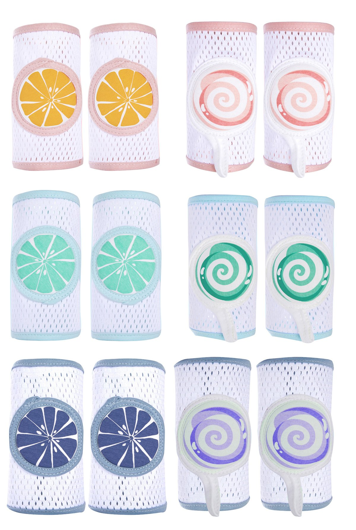 Baby Knee Pads for Crawling, Anti-Slip with Cute Fruit Pattern and Adjustable Stickers, Breathable 3D Mesh Materials