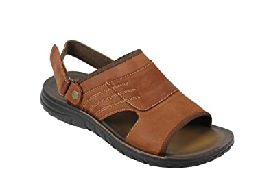 e5a9d11784d Mens Real Leather Sandals Adjustable Strap Gladiator Beach Walking Slippers  Black Brown  E16-42