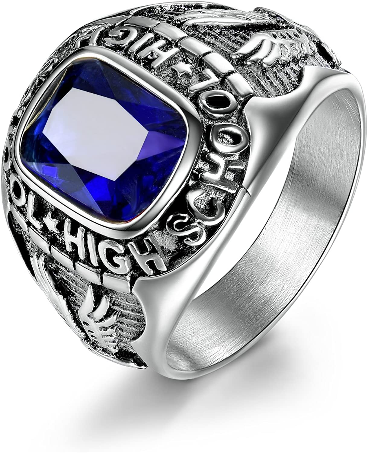 MASOP 316L Stainless Steel Rings for Men with Blue Stones Engraved High School Eagle Size 8-15