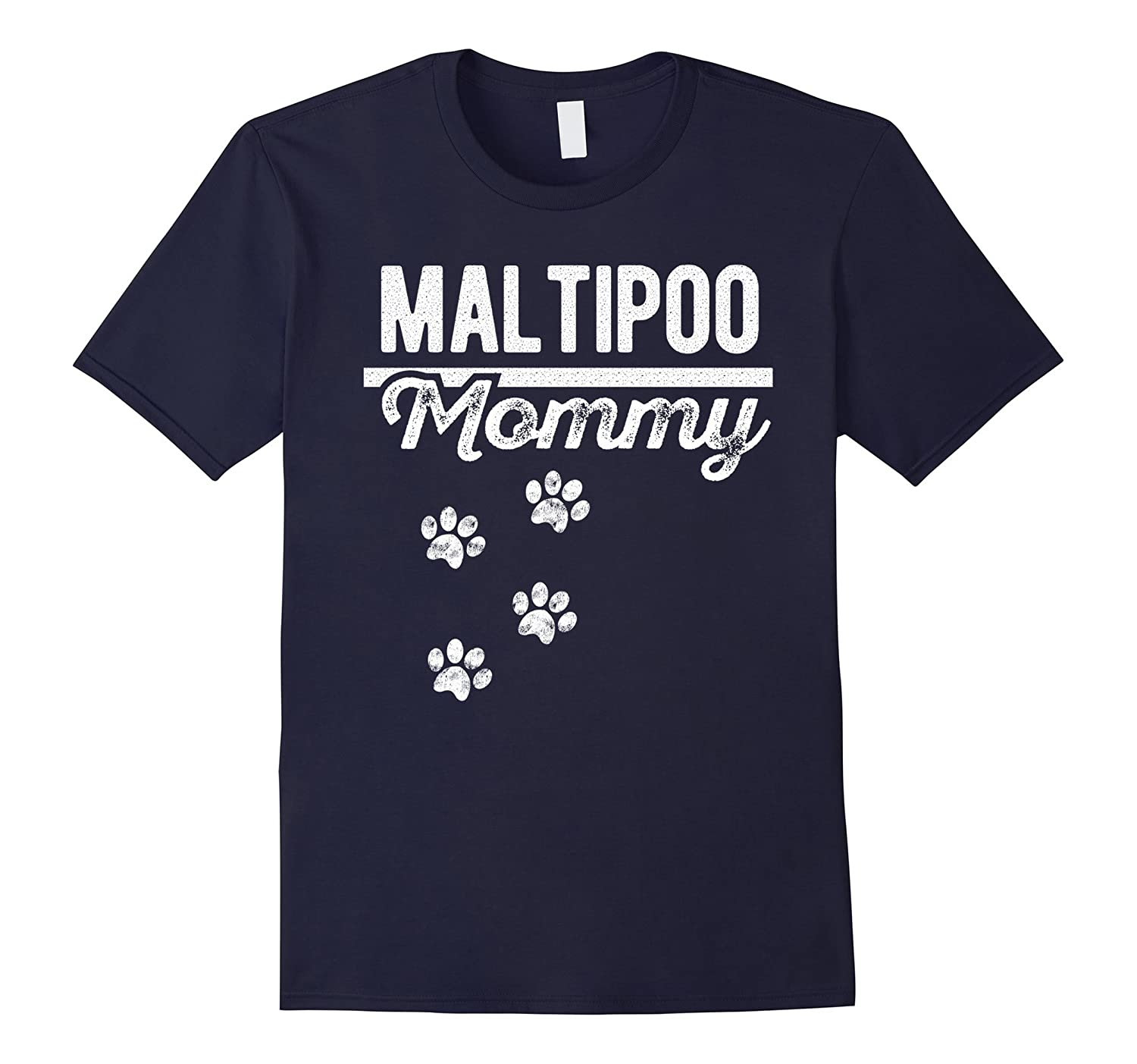 Maltipoo Mommy - Dog Lover Distressed T-Shirt-Art