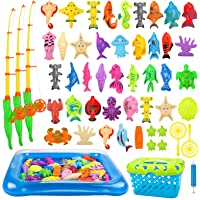 REMOKING Kid Toys 52PCS Fishing Game,Magnetic Toys with Ocean Sea Animal,Fishing Poles,Nets,Inflatable Pool,Toddlers…