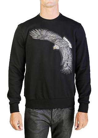 Moncler Men s Eagle Patch Crewneck Sweatshirt Black  Moncler  Amazon ... 3cee621a7